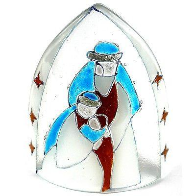 Handmade Artisan Glass Nativity Candle Cover -