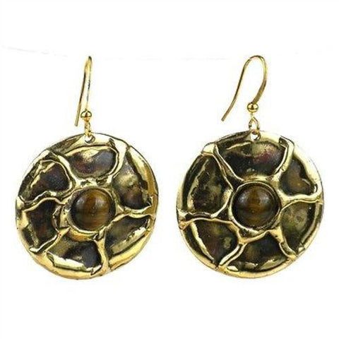 Gold Tiger Eye Sun Earrings - Brass Images (E) - Green Sea Eco