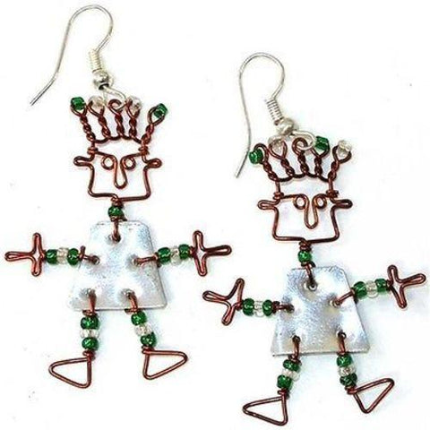 Tin Dancing Girl Earrings - Creative Alternatives - Green Sea Eco