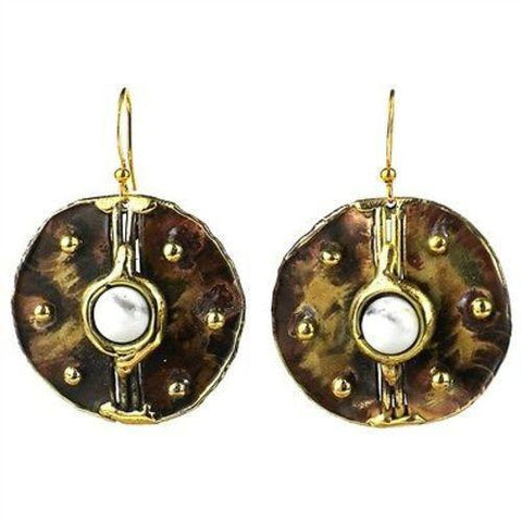 Howlite Brass Disk Earrings - Brass Images (E) - Green Sea Eco