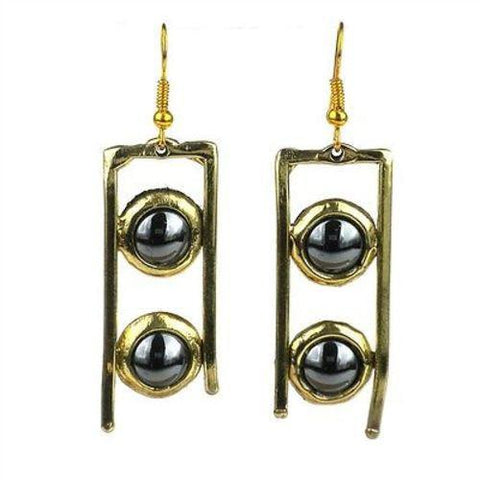 Hematite and Brass Ladder Earrings - Brass Images (E) - Green Sea Eco