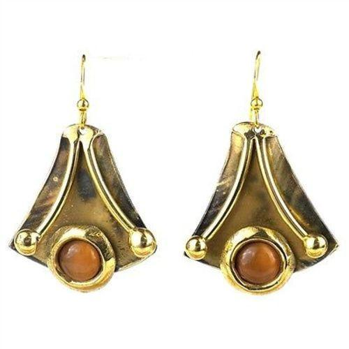 Reborn Peach Tiger Eye Brass Earrings Handmade and Fair Trade