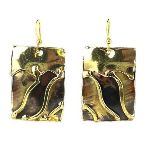 Waves Brass Earrings - Green Sea Eco