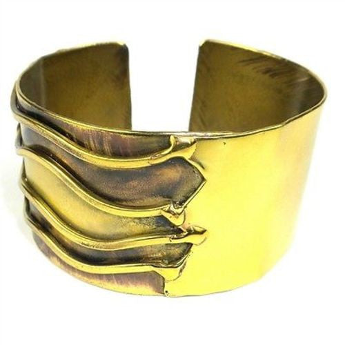 Waves Brass Cuff - Green Sea Eco