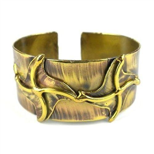 Brass Pinwheels Cuff Handmade and Fair Trade