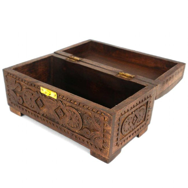 Mango Wood Carved Chest with Latch - Green Sea Eco  - 2