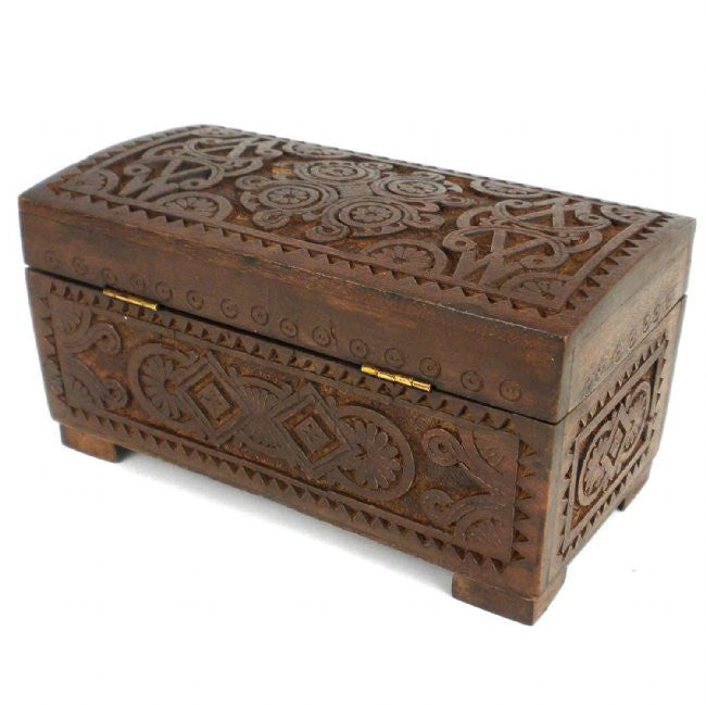 Mango Wood Carved Chest with Latch - Green Sea Eco  - 3