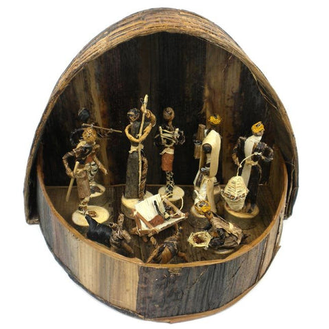 Banana Fiber Nativity Set Round - Kenya - Green Sea Eco  - 1