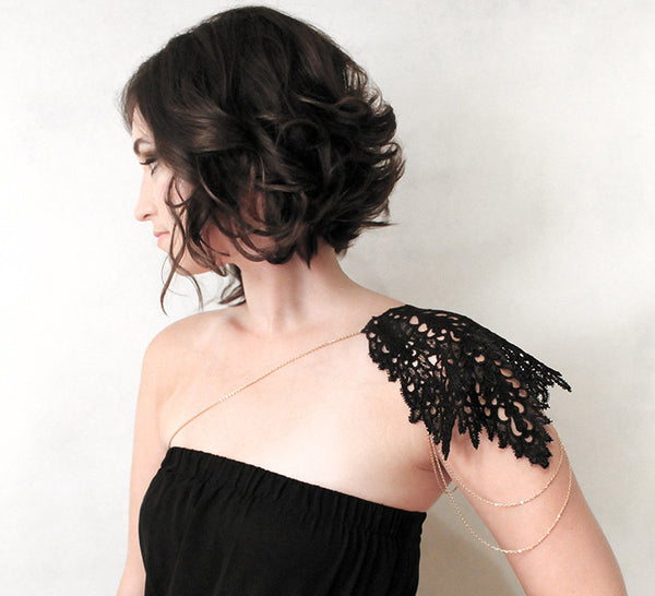 asiya black lace shoulder jewelry
