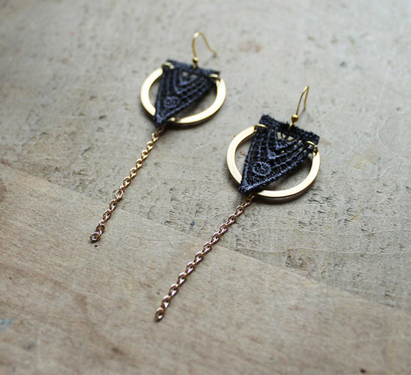 orla gray lace earrings