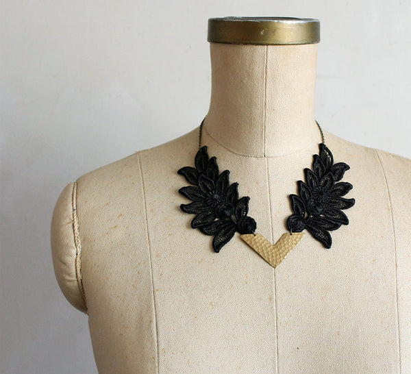 antheia black lace necklace