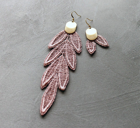 vida pink mismatched lace earrings