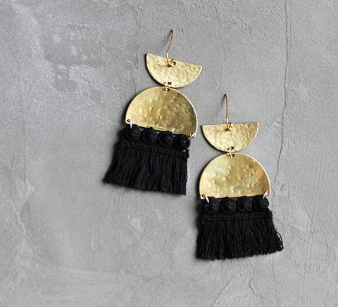 sura brass and black fringe statement earrings