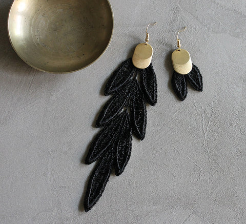 VIDA asymmetrical black lace statement earrings, lace fashion earrings, boho style earrings.