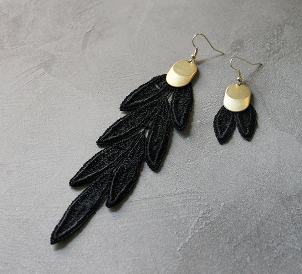 long black lace statement earrings, bohemian earrings, mismatched earrings by white owl jewelry.