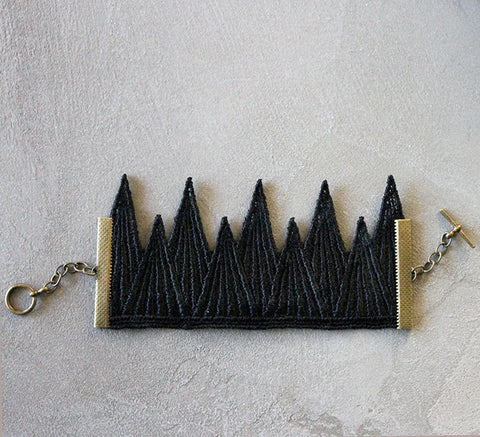 tiny mountains black lace cuff
