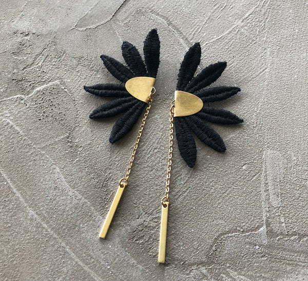 maya black lace earrings