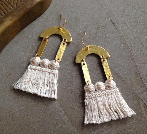 brass statement earrings