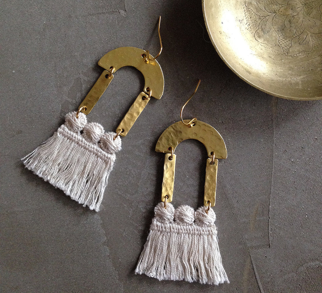 maris cream fringe earrings