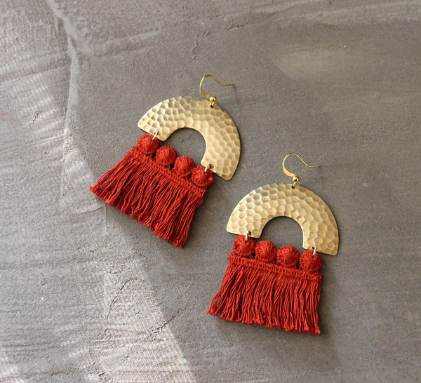 statement earrings, red earrings, brass statement earring