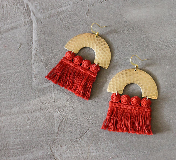 chrysos poppy fringed statement earring