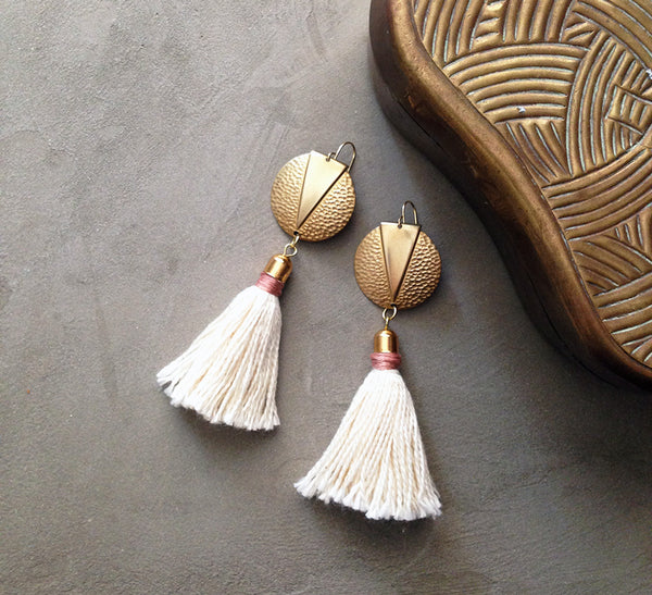 naeva brass and tassel earrings