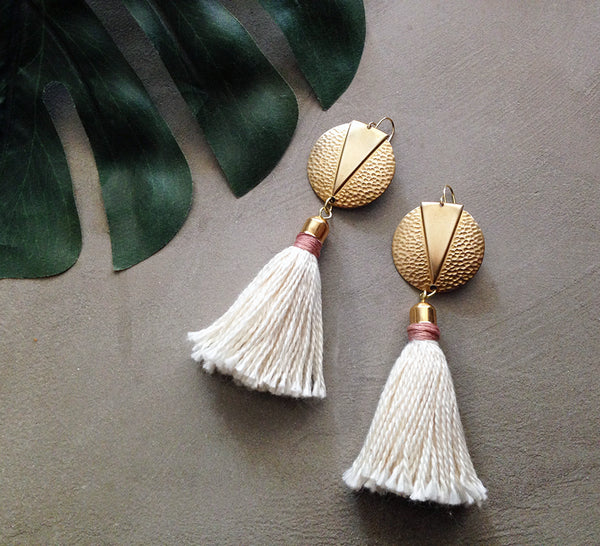 Naeva modern bohemian handmade long tassel earrings.