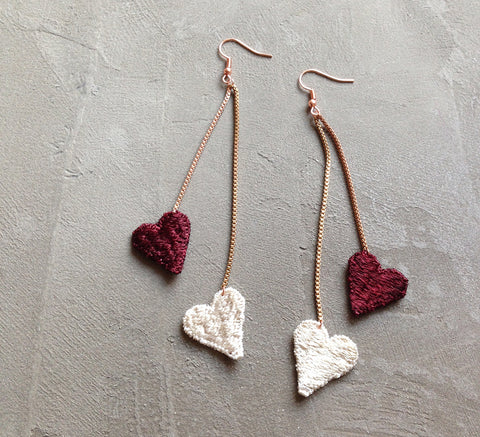 venus burgundy heart statement earrings