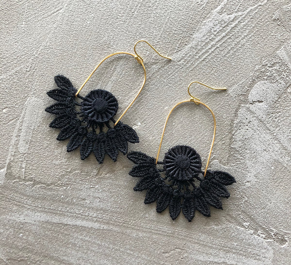ceres black floral statement earrings