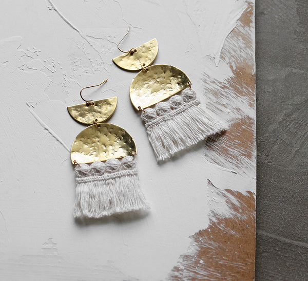 sura brass and fringe statement earrings