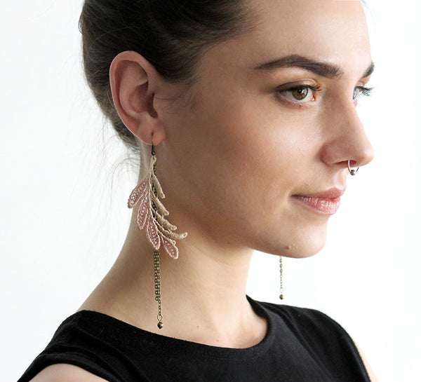 anais taupe ombre lace earrings
