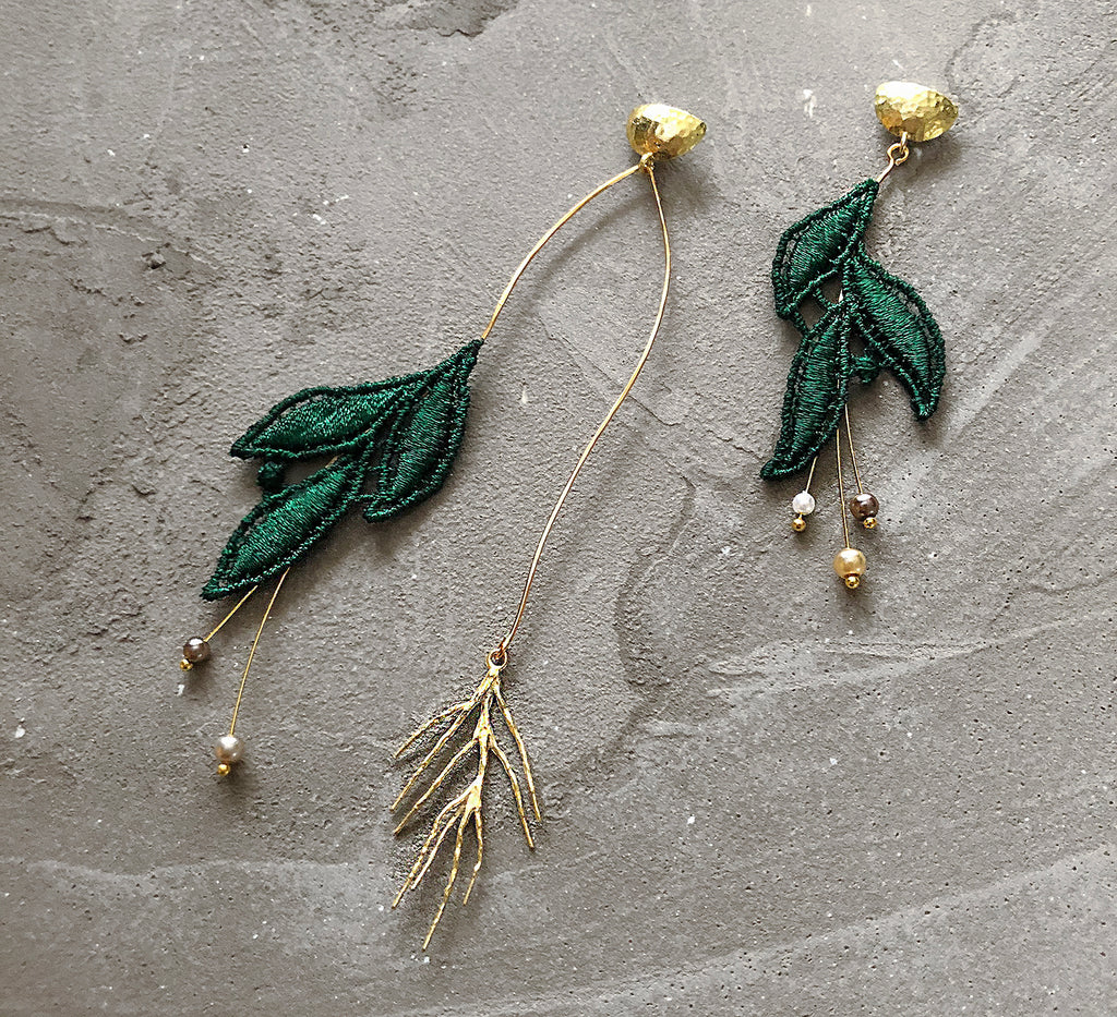 emerald winter berry asymmetrical earrings