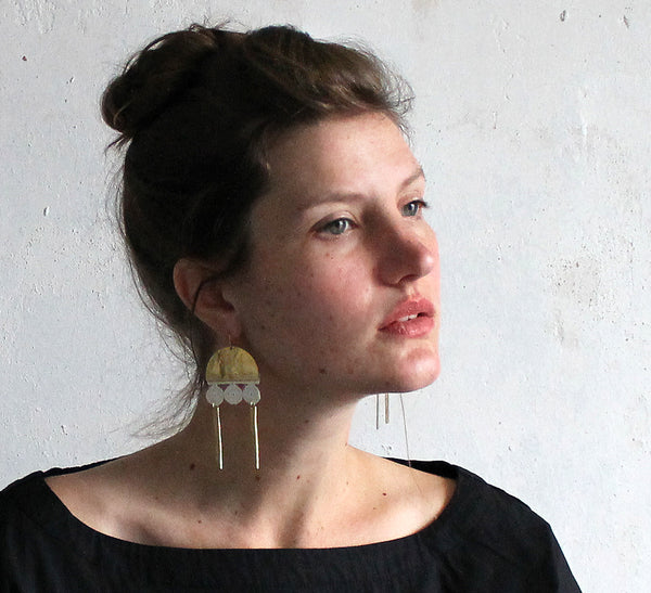 ziva modern brass statement earrings