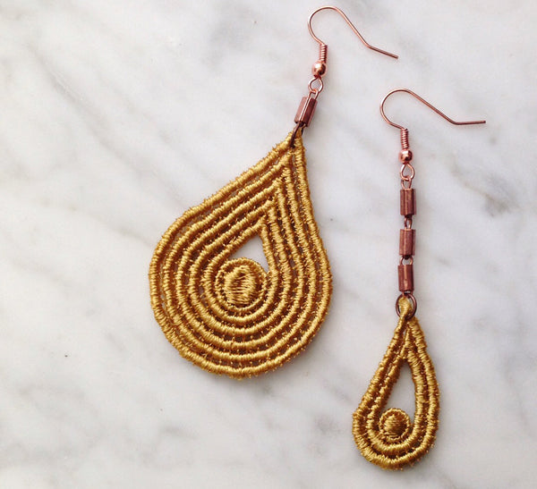 asymmetrical mustard modern boho earrings