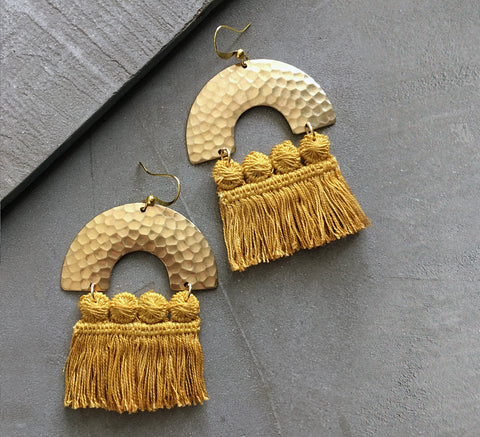 chrysos mustard fringed statement earring