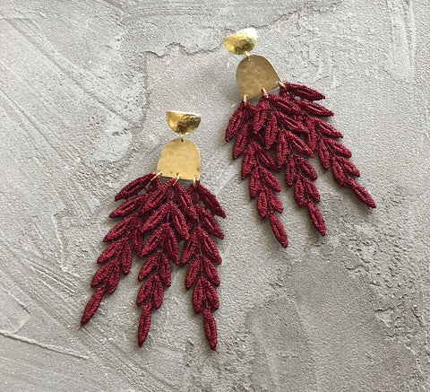 hecate burgundy lace earrings