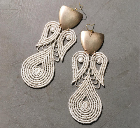 lyre lace statement earrings