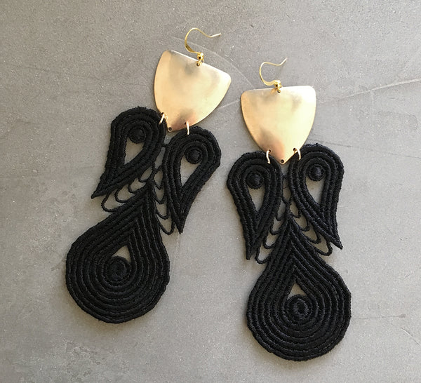 lyre black lace statement earrings