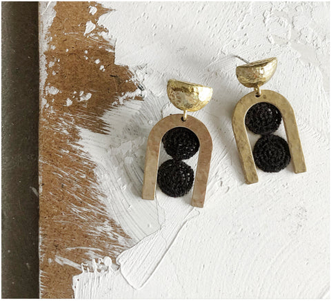 cara black lace earrings