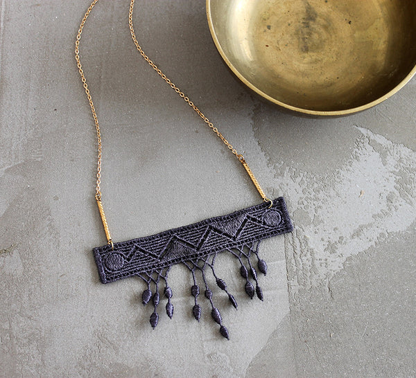 marlo gray lace necklace