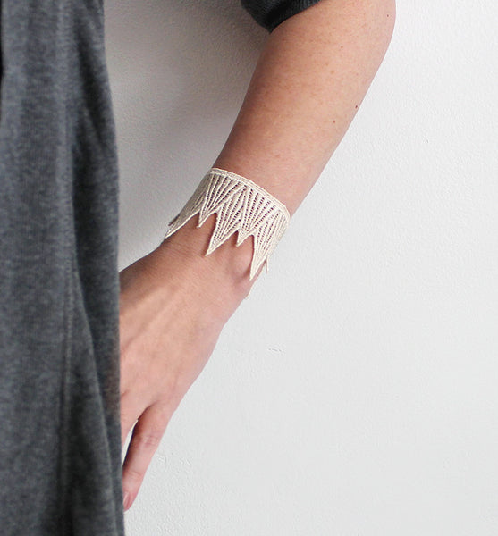 tiny mountains lace cuff