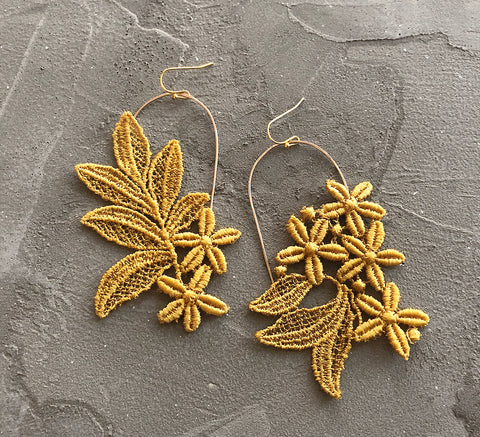 cressida mustard asymmetrical earrings