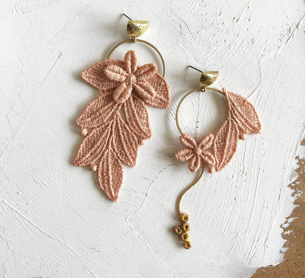 boho floral earrings, mismatched earrings