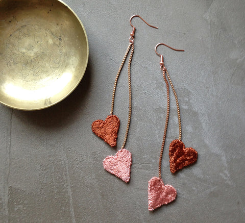 venus rust heart statement earrings