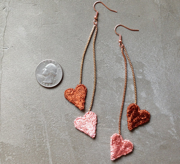 shoulder duster heart statement earrings