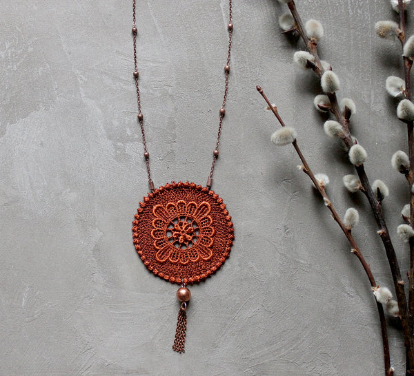 Handmade long boho tassel necklace.