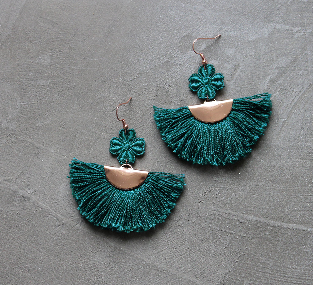 marais teal fan earrings