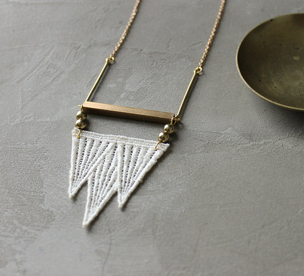 modern geometric lace necklace