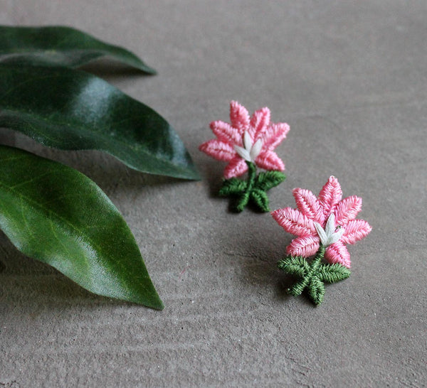emroidered flower earrings, small floral earrings, flower girl earrings