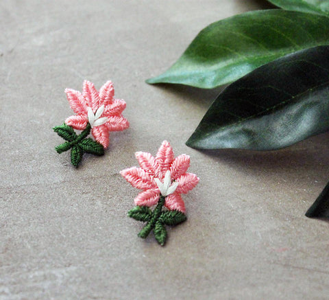 magnolia pink floral earrings